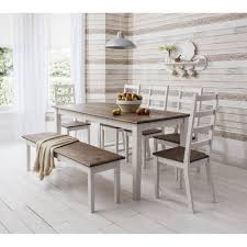 decor elegant dining table bench for inspiring bedroom furniture canterbury dining table bench with 5 chairs in pretty white legs and natural brown wooden top