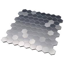 self adhesive metal mosaic 10 pcs hexagon peel n stick tiles 12x12in