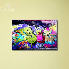 2017 fashion graffiti oil painting canvas prints for young room