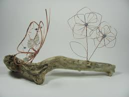 copper wire butterfly and flower sea glass natural driftwood