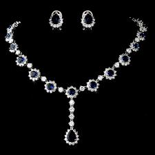 sapphire necklace set images Elegant navy blue rhinestone wedding jewelry set jpg