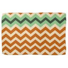Earthy Orange Multi Color Stripes Kitchen Towels Zazzle