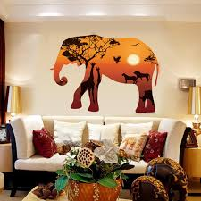 Poster Wallpaper For Bedrooms Aliexpress Com Buy Art Poster Forest Elephant Silhouette Wall
