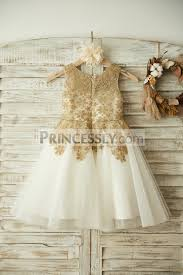wedding flower dresses gold lace ivory tulle wedding flower dress