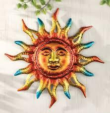 blazing sun face metallic solar sunburst wall art indoor outdoor