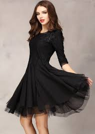 black half sleeve lace bead chiffon dress abaday