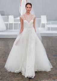 monique lhuillier 2015 illusion neckline lace a line bridal gown