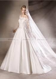 satin wedding dress a line princess off the shoulder sweep train