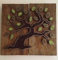 Canapã En Pin Albero Della Vita Tree Of Amicizia String Su Legno Riciclato Con