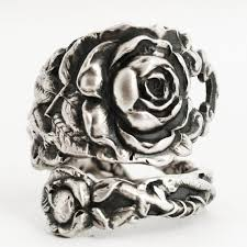silver roses tea ring sterling silver spoon ring silver flower