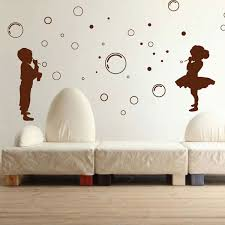 kids and bubbles wall sticker funky silhouette wall decor