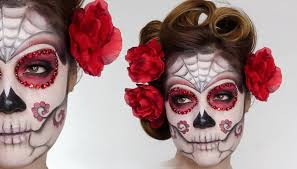 Halloween Skeleton Faces by Easy Sugar Skull Day Of The Dead Makeup Tutorial For Halloween