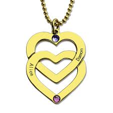 aliexpress heart necklace images Personalized couples name necklace gold color birthstones engraved jpg