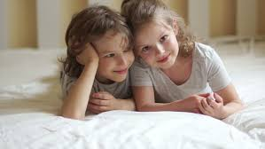 Fun In The Bedroom Brother And Sister Relaxing Together In The Bed Cute Children Are