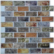 Lowes Kitchen Backsplash Tile Interior Artd Peel And Stick Kitchen Backsplash Tile In X In Pack