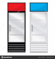 glass door fridge with door handle open on the right glass door