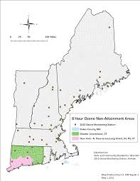 New England Map by 8 Hour Ozone Non Attainment Areas In New England Ground Level