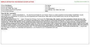 orthotics technician cover letter