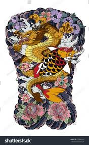 japanese tattoo design full back body stock vector 723093655