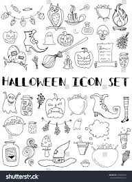 set halloween icons hand draw creative stock vector 316483433