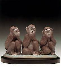 bronzed three wise monkeys ornament an ornament of the iconic see