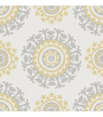 Peal And Stick Wallpaper Wallpops Nuwallpaper Gray And Yellow Suzani Peel And Stick