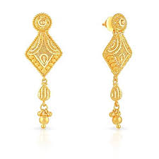 malabar earrings buy malabar gold and diamonds collection 22k yellow gold drop