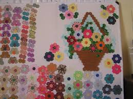 flower garden quilt pattern 25 inch hexagon wall hanging project basket quilt wall hangings