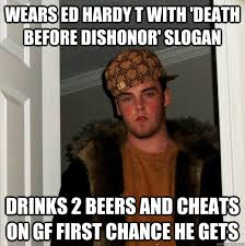 Ed Hardy Meme - wears ed hardy t with death before dishonor slogan drinks 2 beers