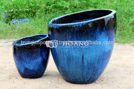 glazed ceramic pots royal blue round outdoor glazed ceramic planters buy decorative