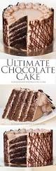 ultimate chocolate cake with layers of sponge buttercream piped