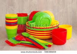 plastic ware colored plastic ware tableware picnic made stock photo 596386859