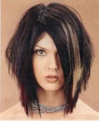 shoulder length layered longer in front hairstyle edgy medium length choppy layered haircut design 245x300 pixel