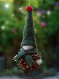 pine cone and felt gnome ornament the magic onions