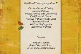 thanksgiving menus