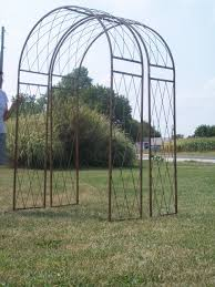 wrought iron round criss cross arch metal garden trellis
