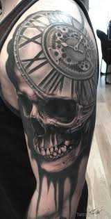 skull and clock tattoo design on half sleeve tattoo designs