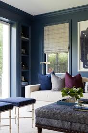 Home Office With Sofa Contemporary Black Paneled Office With Blue Accents Contemporary