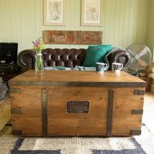 coffee table vintage stripped pine bound industrial factory chest