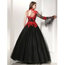 Wedding Dresses Gowns Aliexpress Com Buy Black And Red Lace Appliques Wedding Dresses
