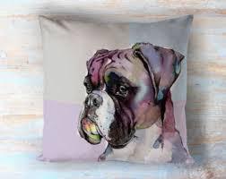boxer dog art boxer dog pillow etsy