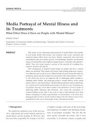 media portrayal of mental illness and its treatments what effect