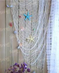 net decor mediterranean style decorative fish net with shells blue white