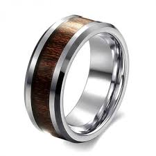 men promise rings classic style 8mm mens ring stainless steel ring retro wood