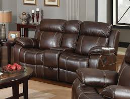 dark brown grain leather loveseat with recliner and small console