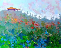 gouache poster colour landscape painting titled alone in the