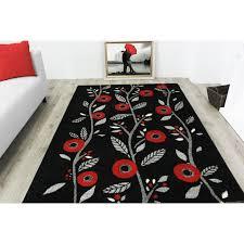 Modern Red Rug by Modern Red Poppy Floral Runner Rug Bombay Kukoon