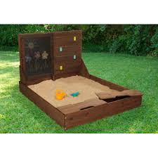 Badger Basket Covered Convertible Cedar Sandbox With Two Bench Seats Kidkraft Activity 4 U0027 Rectangular Sandbox U0026 Reviews Wayfair