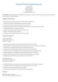 Marketing Specialist Resume Sample by Sample Promotions Specialist Resume Resame Pinterest Promotion