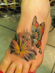 butterfly flower foot tattoo designs creativefan